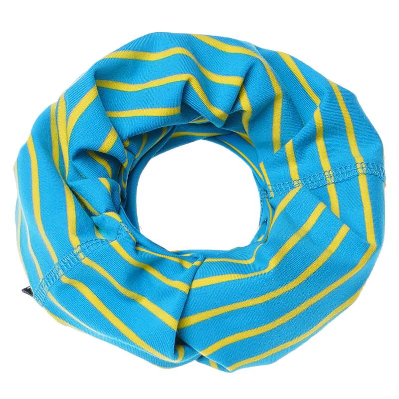 Fular de bumbac cu dungi galben și albastru deschis  100219