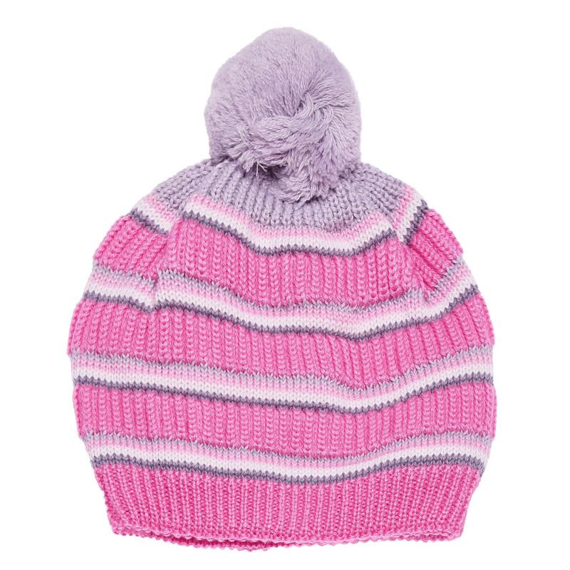 Căciulă tricotata cu un pompon mare pentru fete  100311