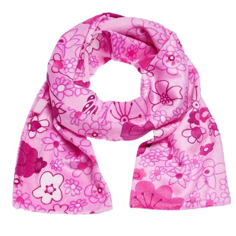 Fular roz cu design floral pentru fete  100408