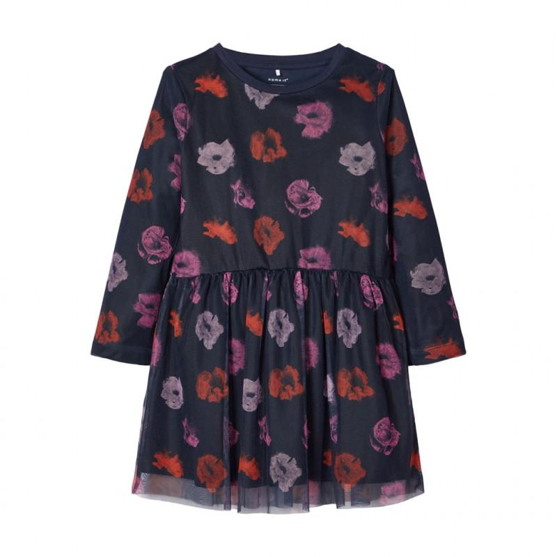 Rochie din bumbac organic cu tul moale, cu imprimeu floral delicat pentru fete  102374