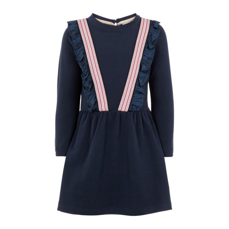 Rochie din bumbac organic cu bucle cusute și bandă elastică și brocart pentru fete  102389