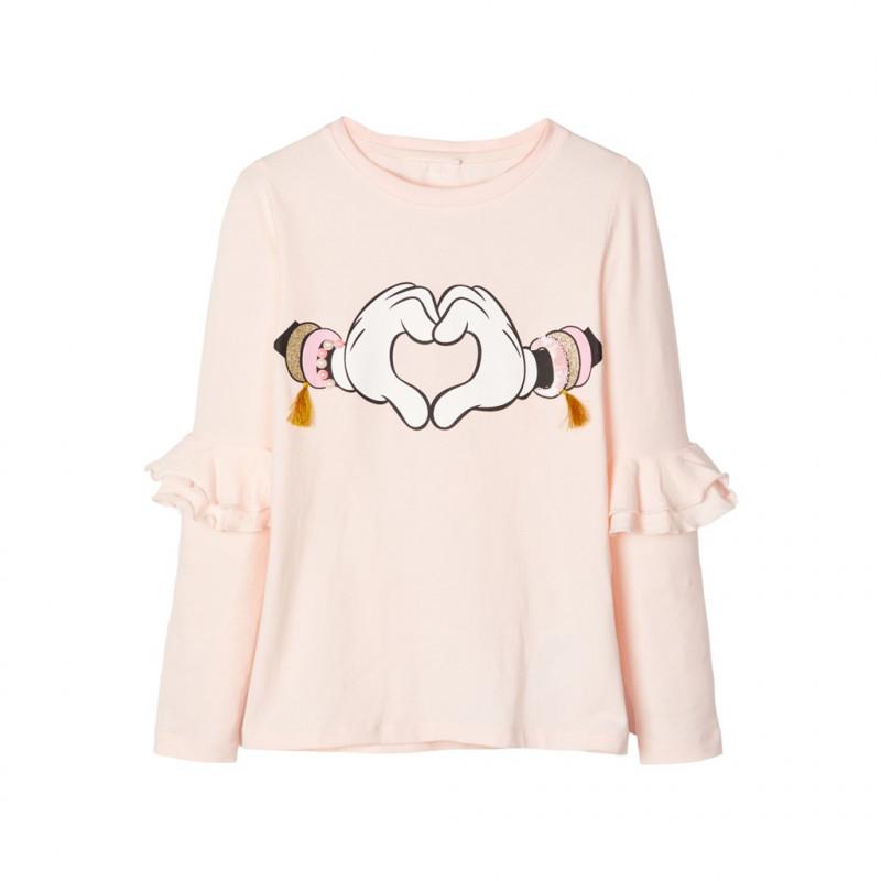 Bluză din bumbac cu mâneci lungi din bumbac pentru fete, roz  102392
