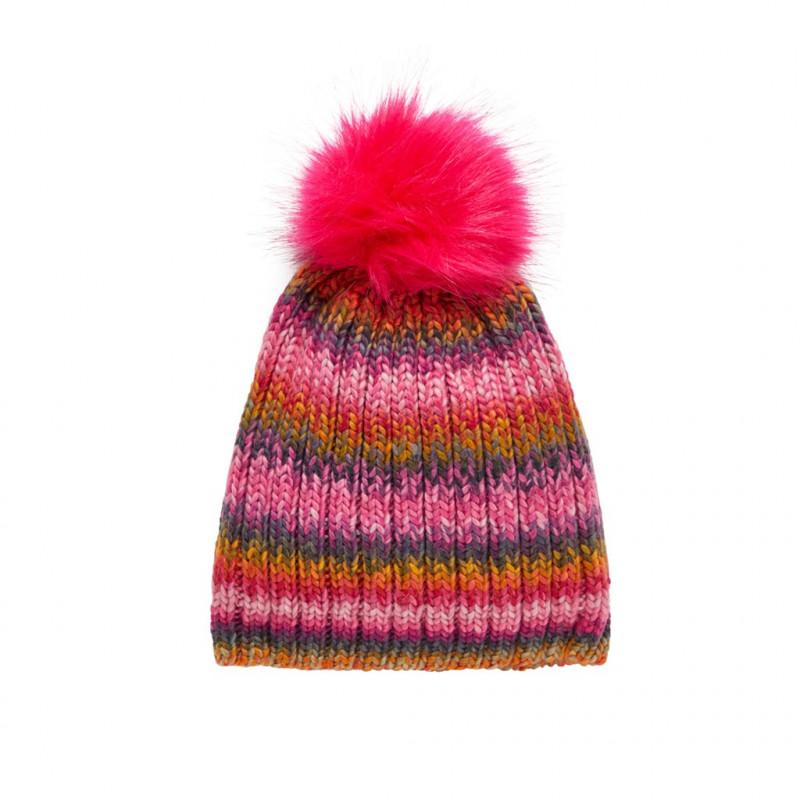 Căciulă tricotată cu pompom pentru fete  102462