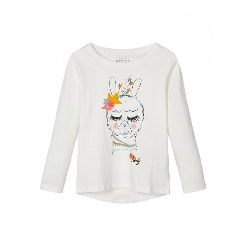Bluză din bumbac cu mânecă lungă albă cu imprimeu grafic colorat pentru fete  102500