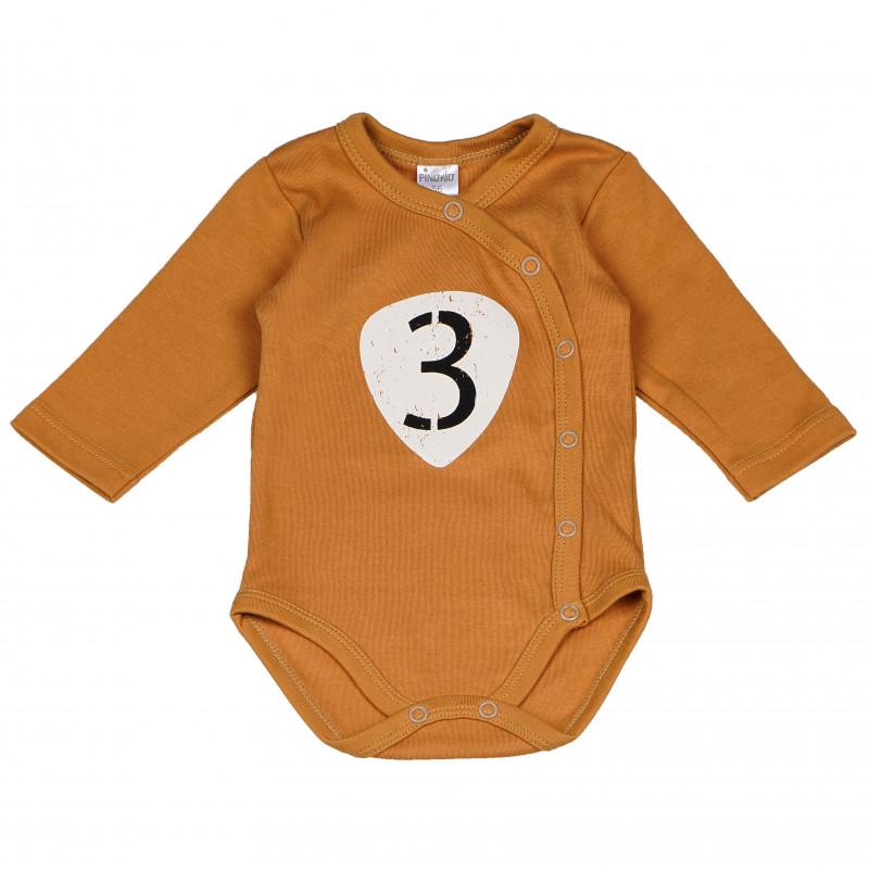 Costum de bumbac cu mâneci lungi, pentru bebeluși de culoare maro  102818