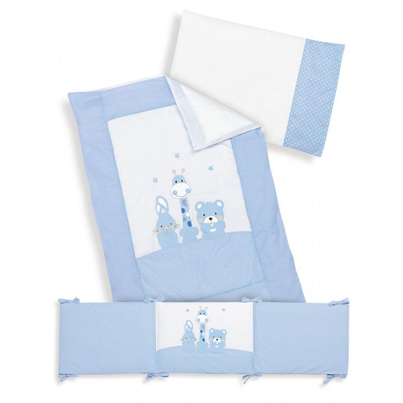 Set de dormit, albastru cu alb, din 3 piese   102950