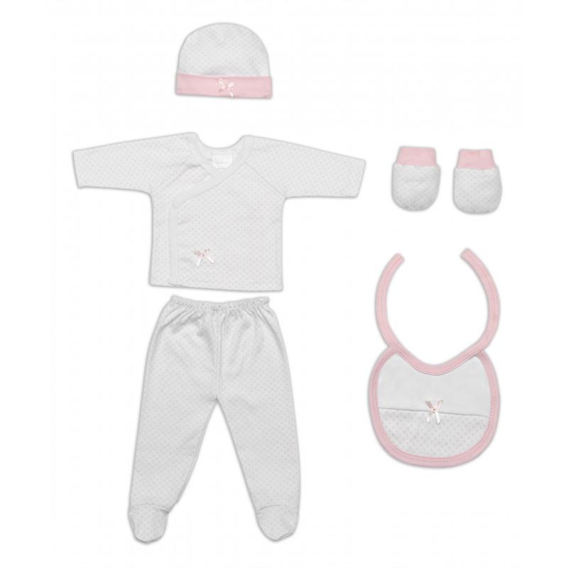 Set pentru bebeluși, de culoare roz, 5 piese   103002