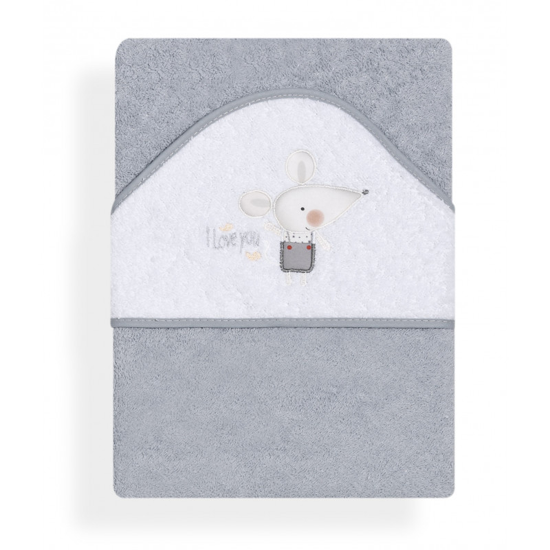 Prosop pentru copii I Love You Ratoncito cu o aplicație textilă delicată de șoricel  103166