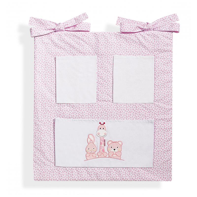 Organizator roz din bumbac pentru pătuț cu imagini de animale  103190