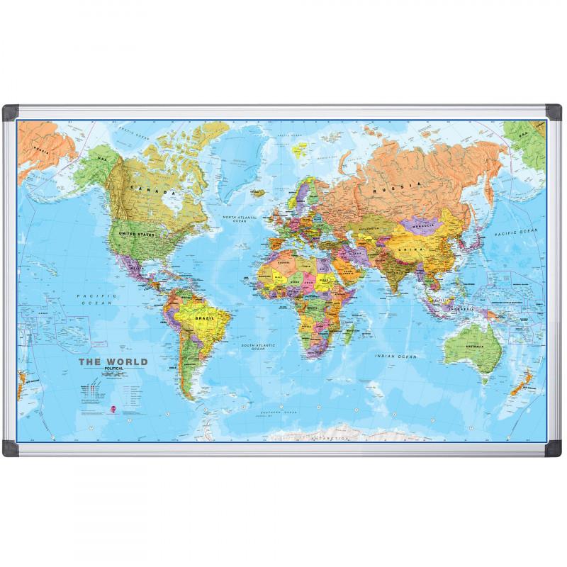 Tablă magnetică - harta lumii 90X120 cm  103369