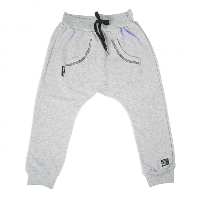 Pantaloni sport din bumbac pentru băieți, cu un buzunar practic  104814