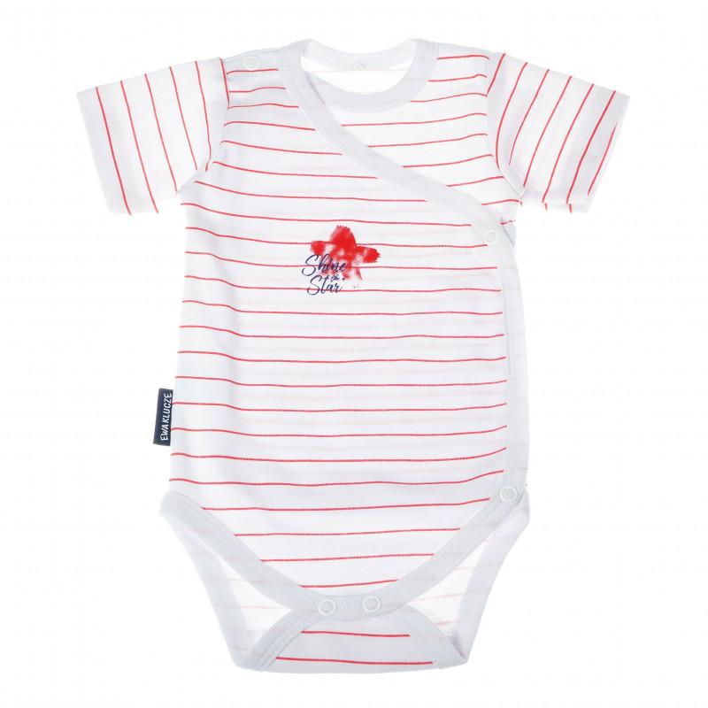 Body de bumbac cu mâneci scurte în dungi albe și roșii pentru fetițe  104822