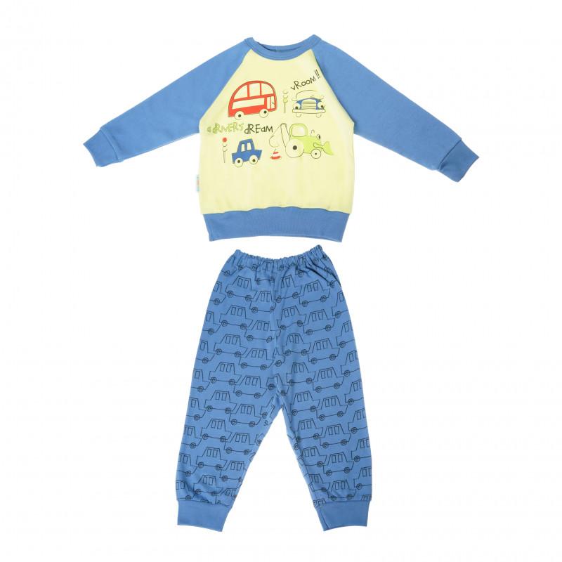 Pijamale din bumbac cu mânecă lungă cu un imprimeu vesel cu cărucior pentru băieți  104864