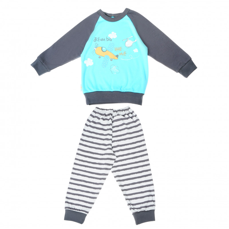 Pijamale din bumbac cu mânecă lungă cu imprimeu plan pentru băieți  104873