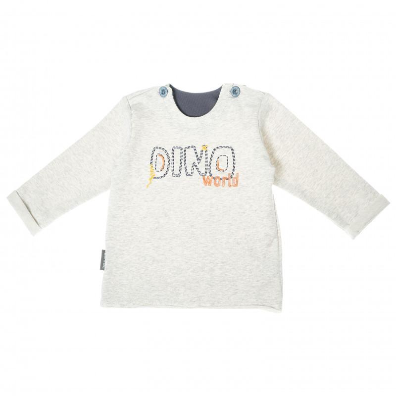 Bluză din bumbac cu mâneci lungi și o inscripție pentru băieți  104891