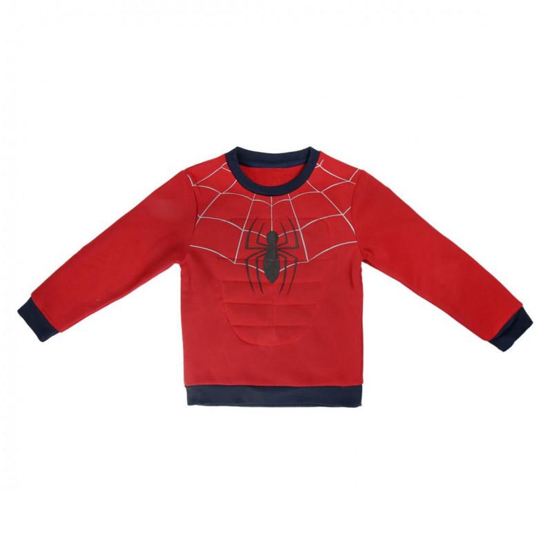 Pulover roșu cu imprimeu păianjen pentru băieți  1053