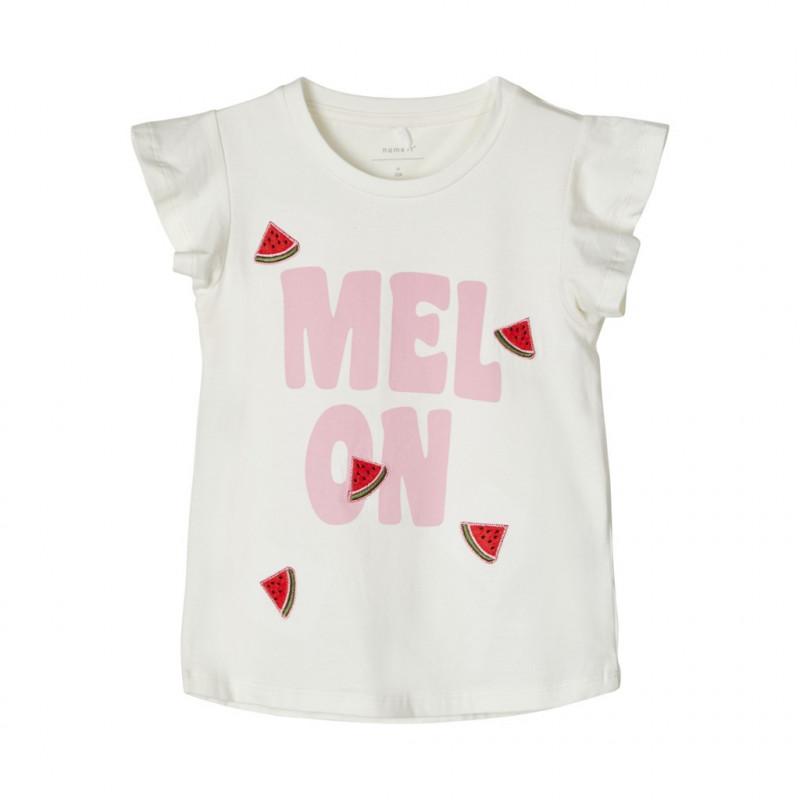 Bluză albă cu mânecă scurtă din bumbac organic, pentru fete  107107
