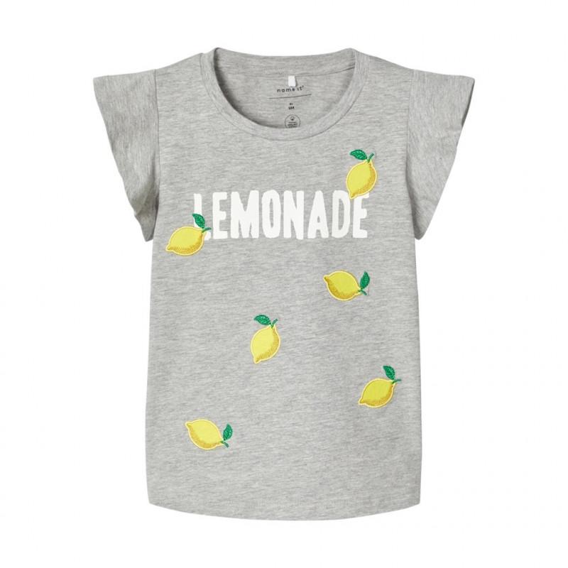Bluză gri cu mâneci scurte din bumbac organic pentru fete  107110
