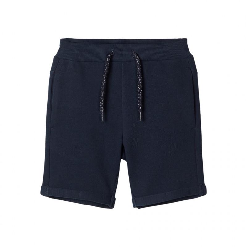 Pantaloni scurți din bumbac organic, albastru închis pentru băieți  107134