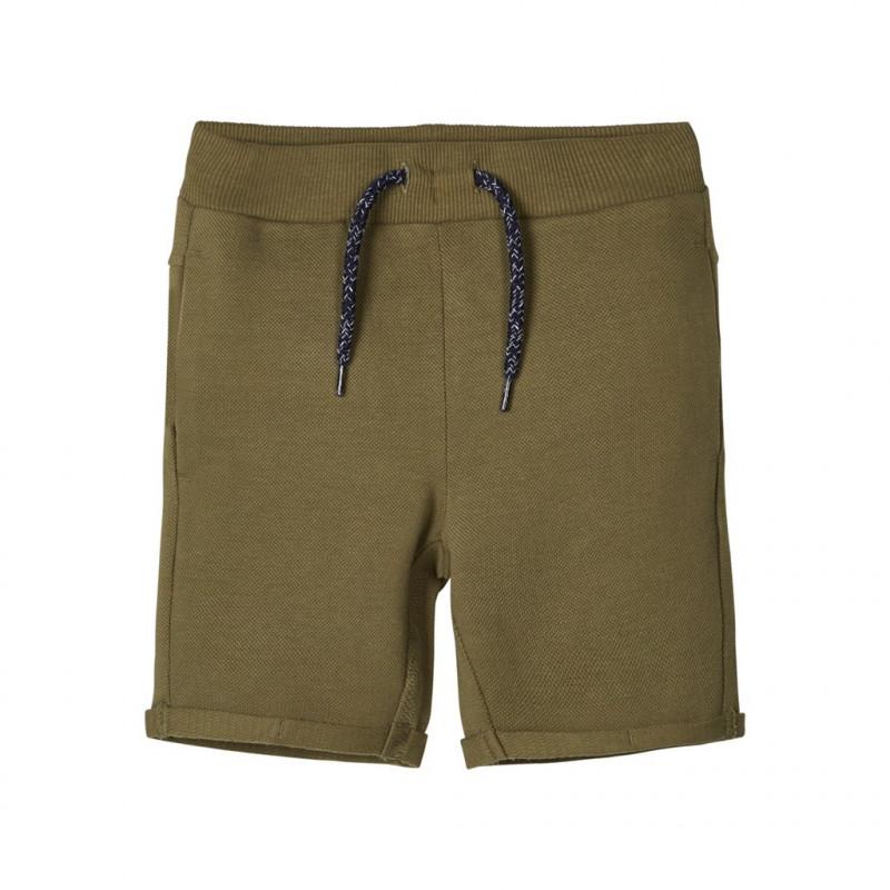 Pantaloni scurți din bumbac organic, verzi pentru băieți  107137