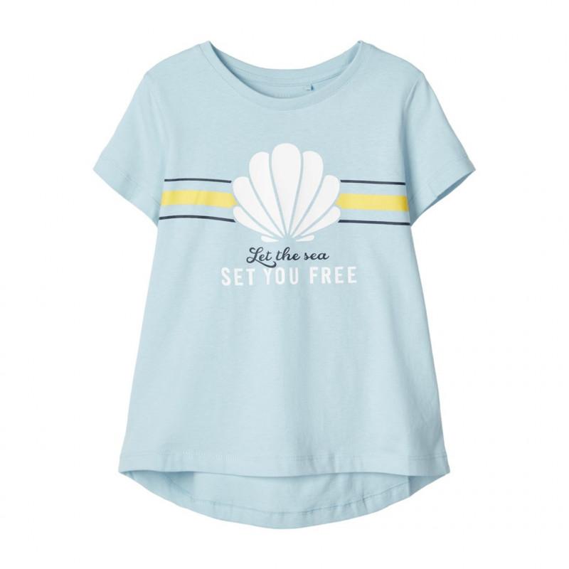 Bluză bluză din bumbac bio, albastru deschis pentru fată  107236
