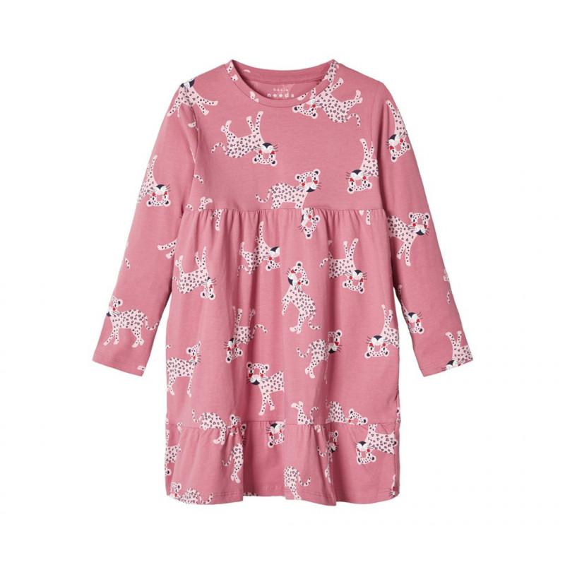 Rochie roz din bumbac cu imprimeu animal, pentru fete  107394