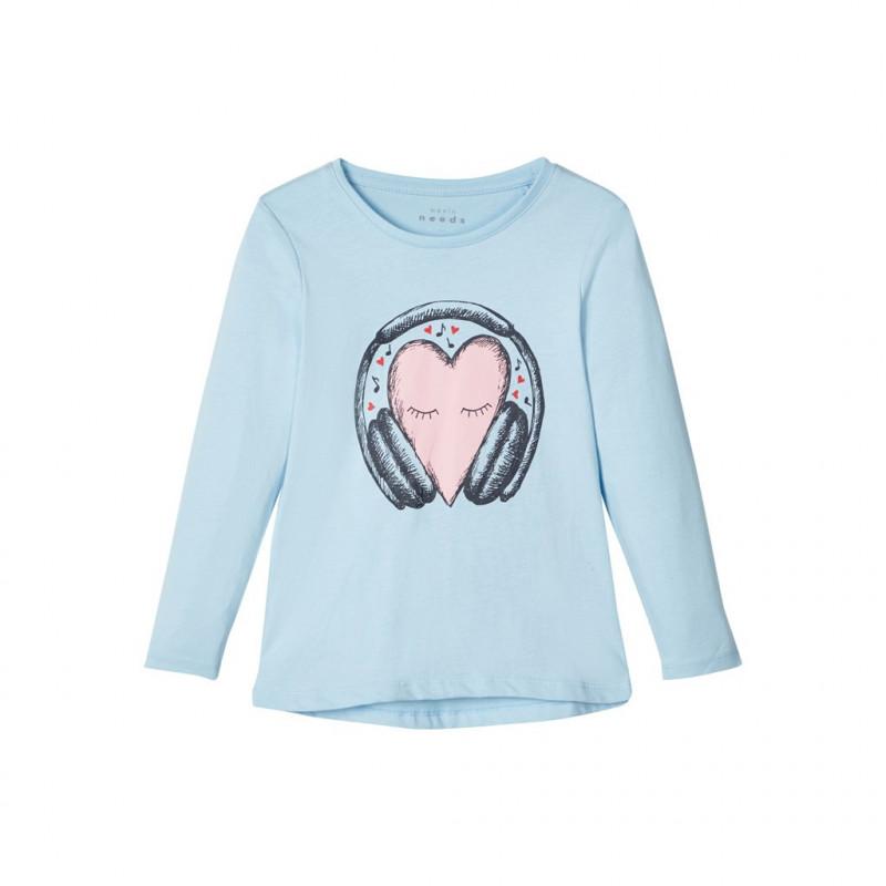 Bluză albastru deschis, din bumbac, cu mânecă lungă, pentru fete  107409