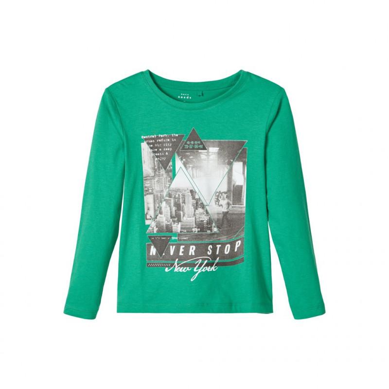 Bluză din bumbac slabă, verde pentru băiat  107473