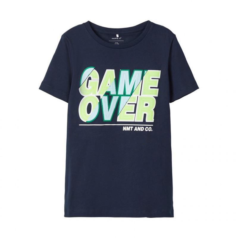 Tricou cu mânecă scurtă din bumbac organic, albastru închis pentru băieți  107506