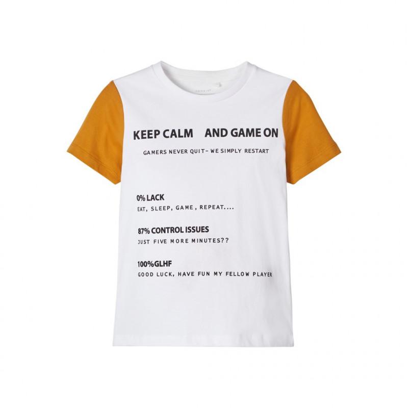 Tricou imprimat din bumbac organic, alb pentru băieți  107515