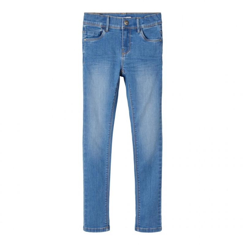 Jeans slim fit, albaștri pentru fete  107524