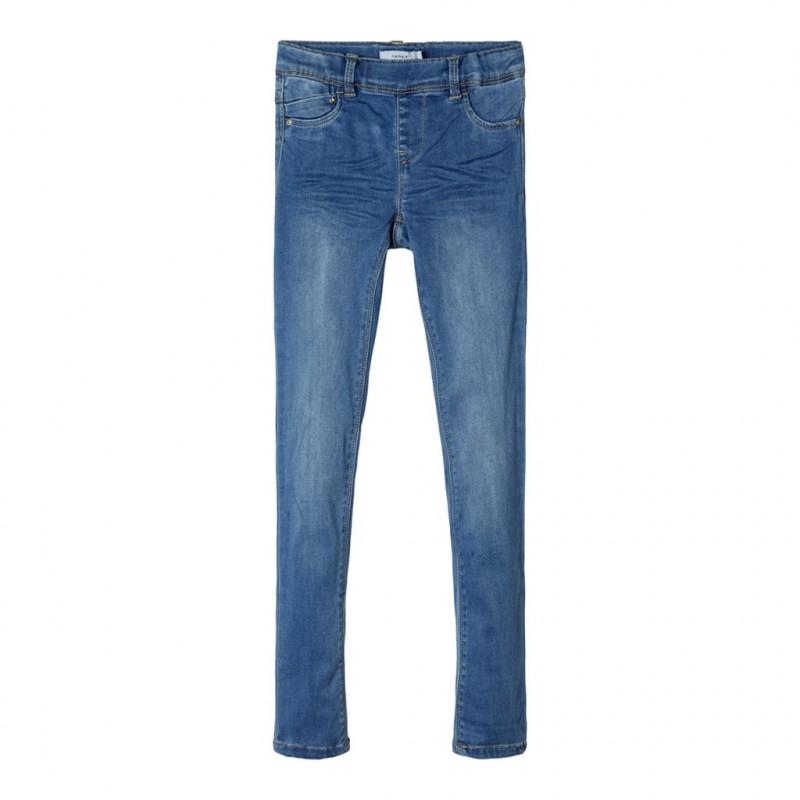 Jeans moi cu efect uzat, albaștri pentru fete  107527