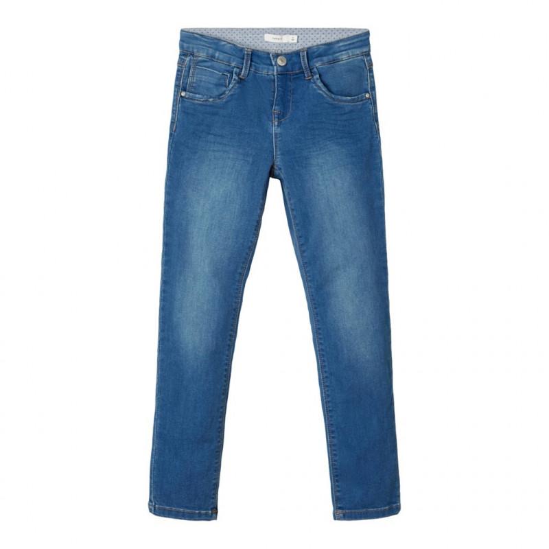 Jeans cu croi drept, albaștri pentru fete  107530