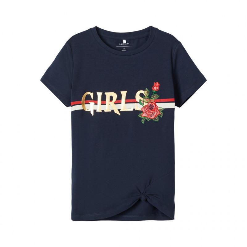 Bluză din bumbac cu litere și broderii, albastru închis pentru fete  107542