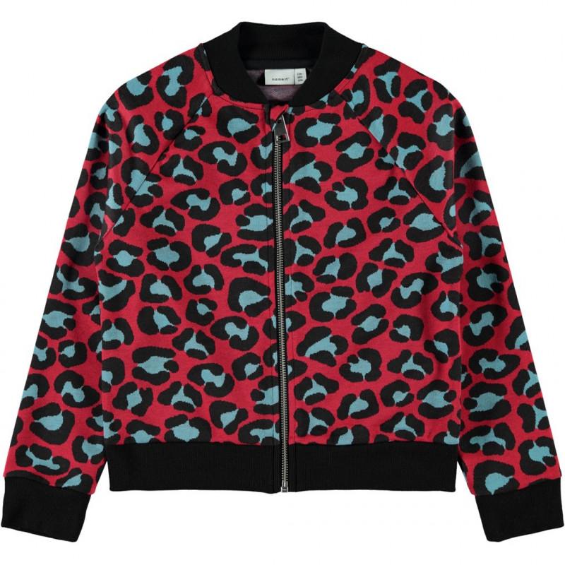 Hanorac cu imprimeu leopard, roșie pentru fete  107549