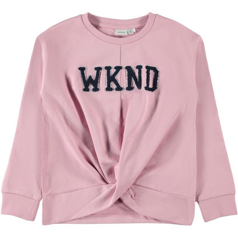Hanorac roz cu tivuri răsucite, pentru fete  107551