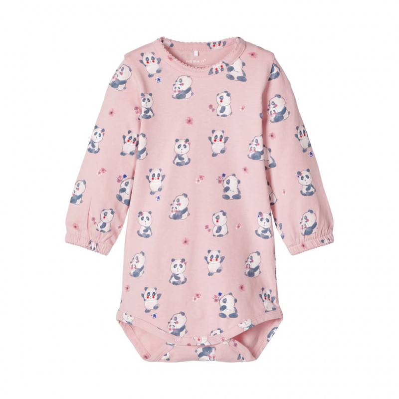 Costum pentru bebeluși din bumbac organic cu imprimeu roz deschis  107558