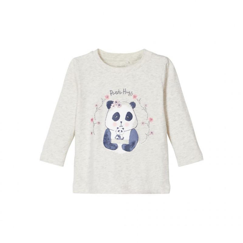 Bluză gri din bumbac cu imprimeu panda, pentru fete  107567