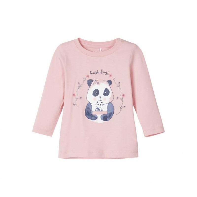 Bluză roz de bumbac cu panda pentru fete  107570