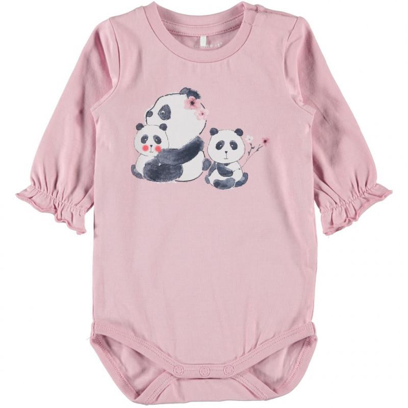 Costum din bumbac organic cu mâneci lungi, roz pentru fete  107573