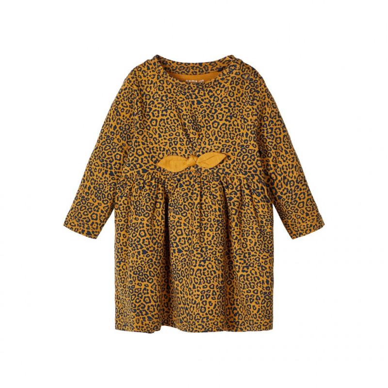 Rochie portocalie din bumbac cu imprimeu animal  107575