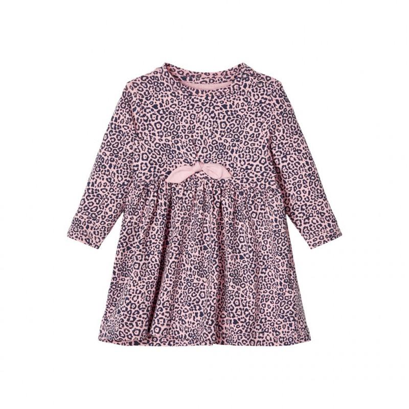 Rochie din bumbac cu imprimeu animal, roz pentru fete  107578