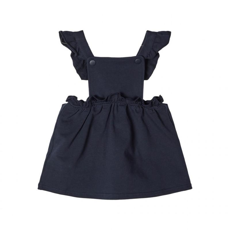 Rochie din bumbac organic, albastru închis pentru fete  107581