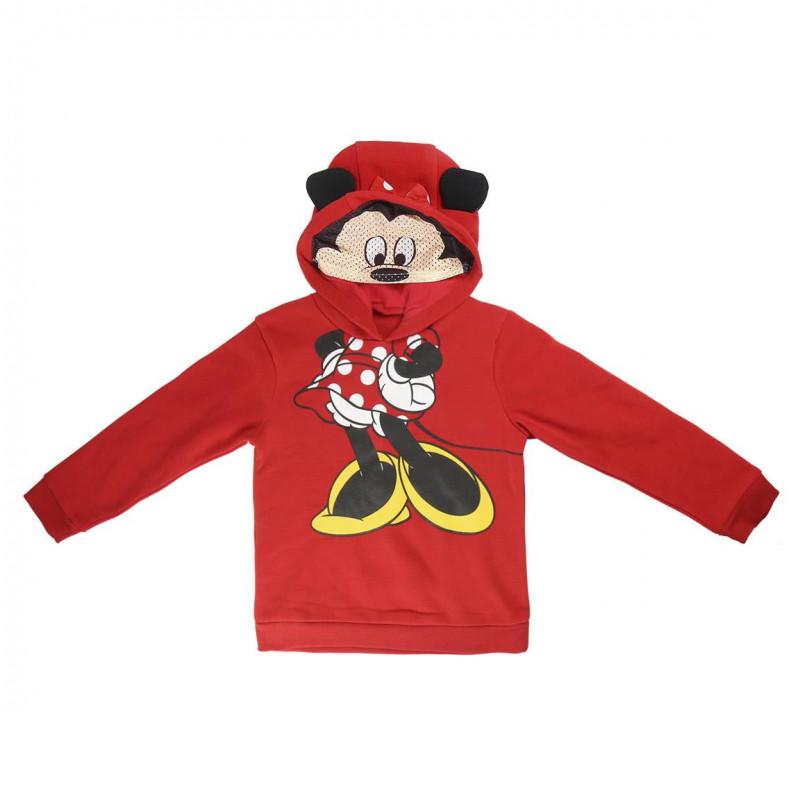 Pulover cu glugă pentru fete,  Minnie Mouse, roșu  1092