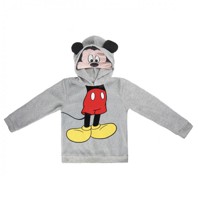 Hanorac cu glugă gri cu imprimeu Mickey Mouse pentru băieți  1096