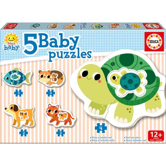 Puzzle pentru copii 5-în-1 Animăluțe mama și bebelușul Educa 11087