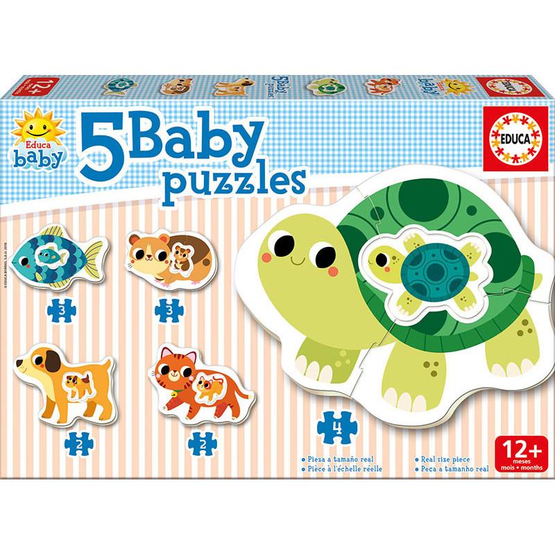 Puzzle pentru copii 5-în-1 Animăluțe mama și bebelușul  11087