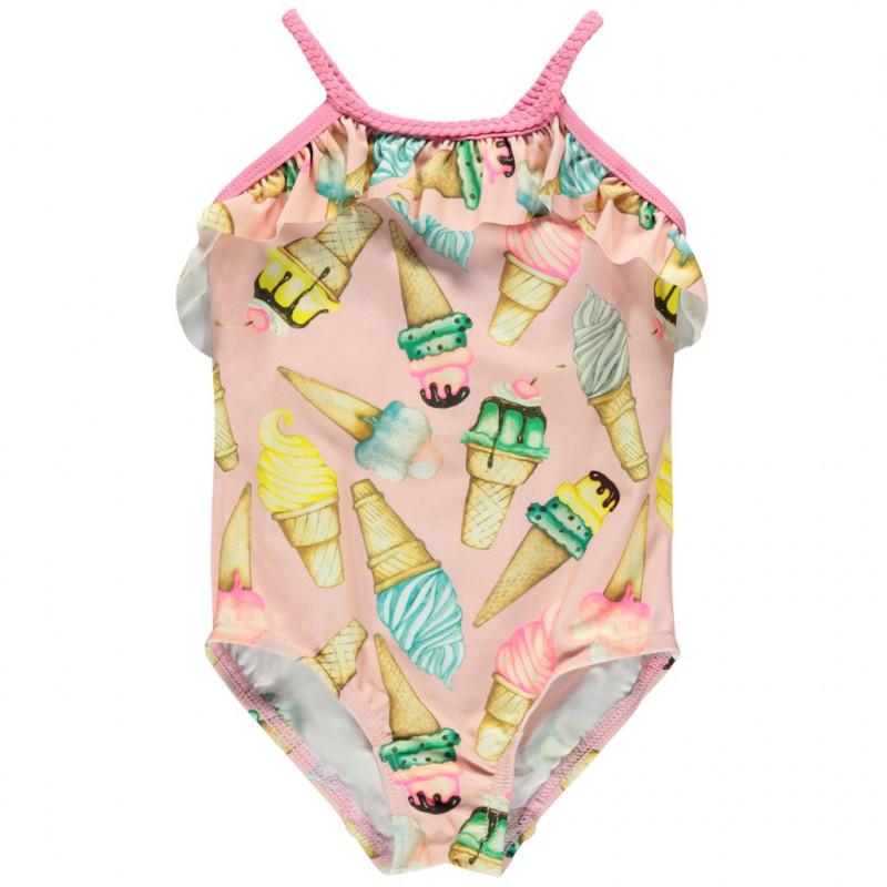 Costum de baie roz, cu imprimeu pentru fete  116433