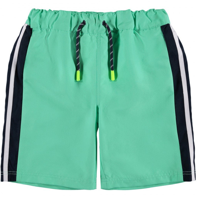 Costum de baie verde pentru băieți cu tiv negru  116454