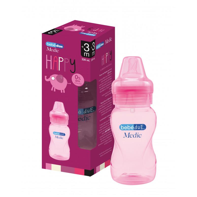 Sticlă pentru bebeluși, 330 ml, roz  1228